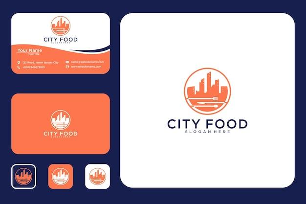 Conception de logo de nourriture de ville et carte de visite