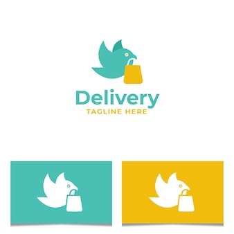 Conception de logo d'oiseau de livraison