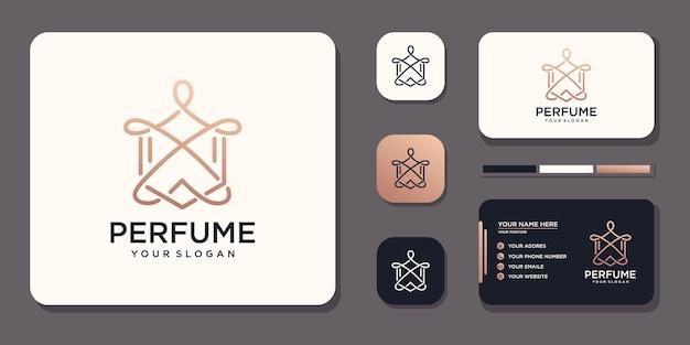 Conception de logo de parfum de luxe et référence de modèle de carte de visite