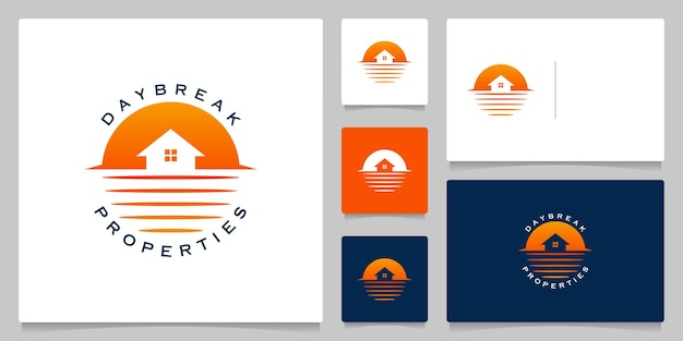 Conception de logo de paysage extérieur immobilier de ligne d'eau de maison de lac avec carte de visite