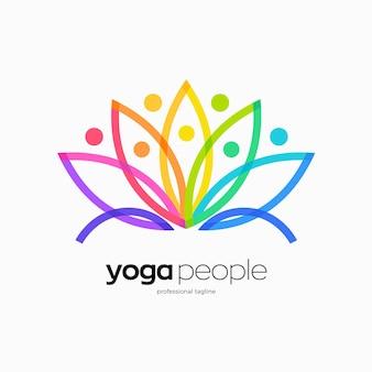 Conception de logo de personnes de yoga faite avec le lotus coloré