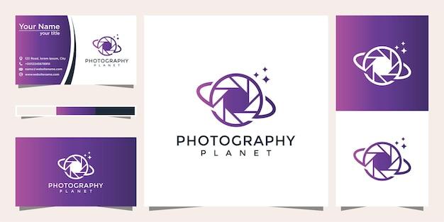 Conception de logo de photographie de planète et carte de visite