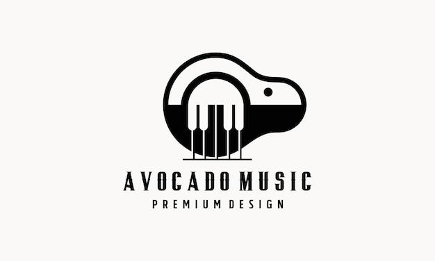 Conception de logo de piano à l'avocat. style plat