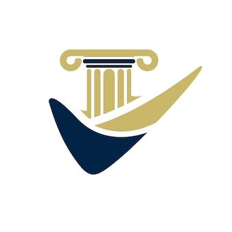 Conception de logo de pilier pour cabinet d'avocats, avocat ou université