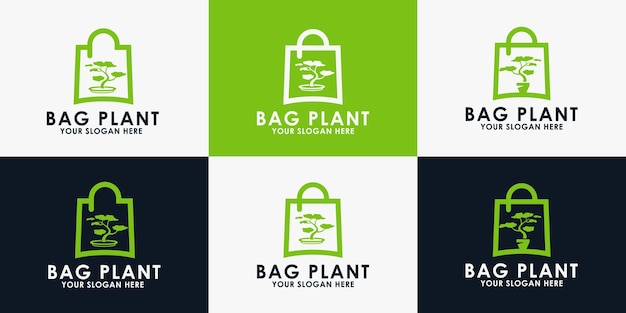 Conception de logo de plante de sac, logo d'inspiration pour fleuriste et autre magasin de nature