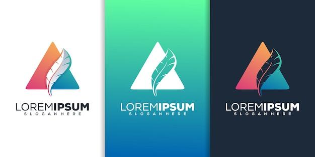 Conception de logo de plume moderne
