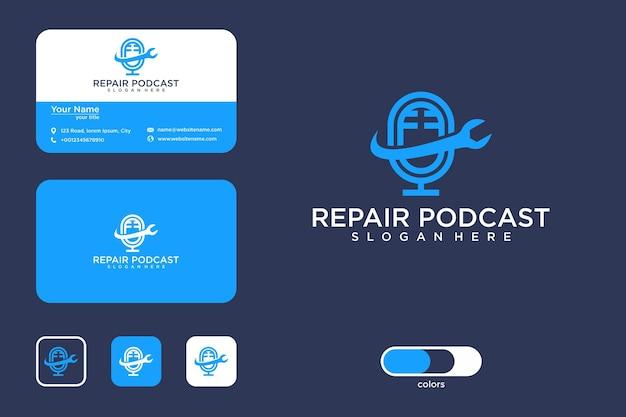 Conception de logo de podcast de réparation moderne et carte de visite