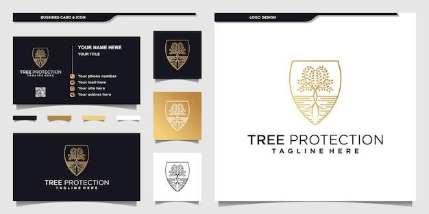 Conception de logo de protection d'arbre avec un style moderne et unique, et conception de carte de visite premium vektor
