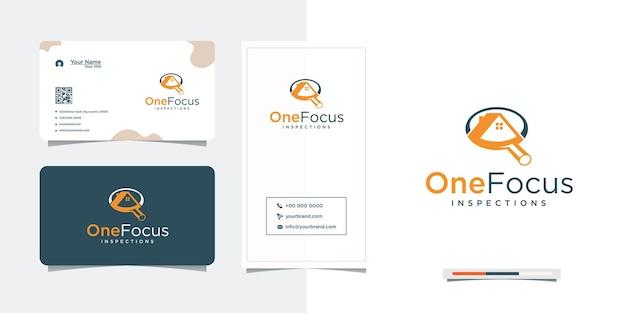 Conception de logo de recherche focalisée sur la maison et la carte de visite