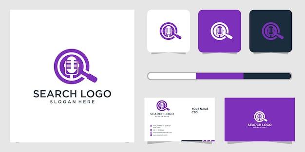 Conception de logo de recherche et modèle de carte de visite