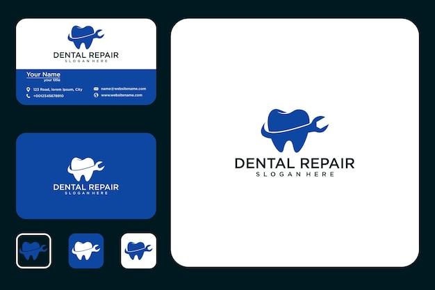 Conception de logo de réparation dentaire et carte de visite
