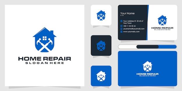 Conception de logo de réparation à domicile et carte de visite