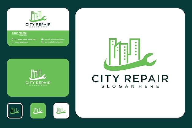 Conception de logo de réparation de ville et carte de visite