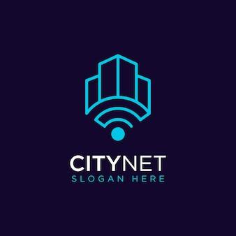 Conception de logo de réseau de ville moderne simple premium