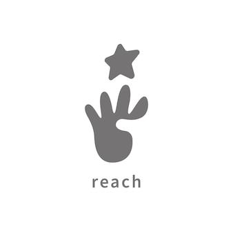 Conception de logo de rêves d'étoile de portée de main. modèle de logo de l'éducation.