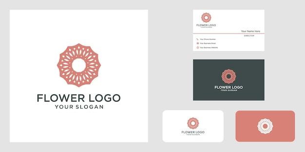 Conception de logo de rose de fleur élégante minimaliste pour le yoga et le spa de cosmétiques de beauté