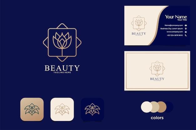 Conception de logo rose de luxe et carte de visite