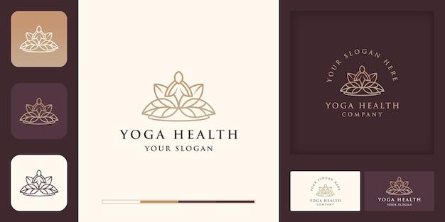 Conception de logo de santé de yoga avec dessin au trait de feuille et conception de carte de visite