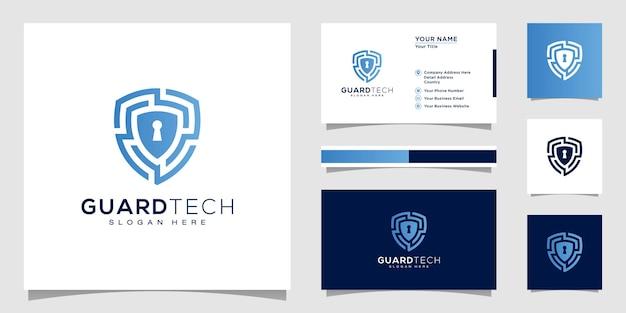 Conception de logo de sécurité de bouclier et carte de visite