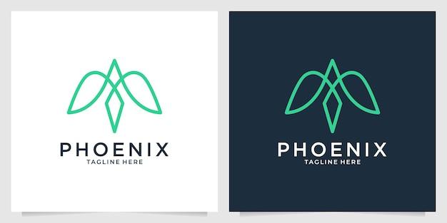 Conception de logo simple d'art de ligne élégante de phoenix