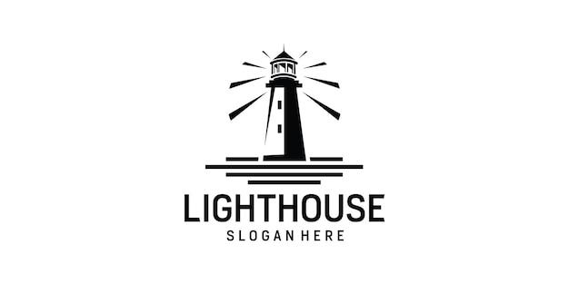 Conception de logo simple d'île de phare de phare de recherche de phare