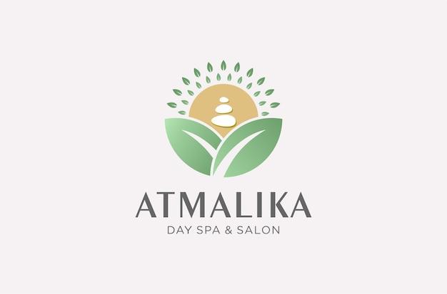 Conception de logo de spa et de salon de jour dans un style naturel.