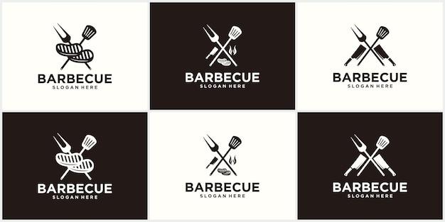 Conception de logo de spatule barbecue grill alimentaire feu et modèle de concept de spatule illustration vectorielle