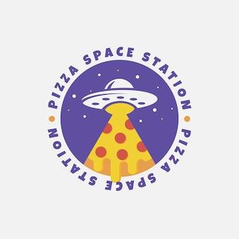 Conception de logo de station spatiale de pizza