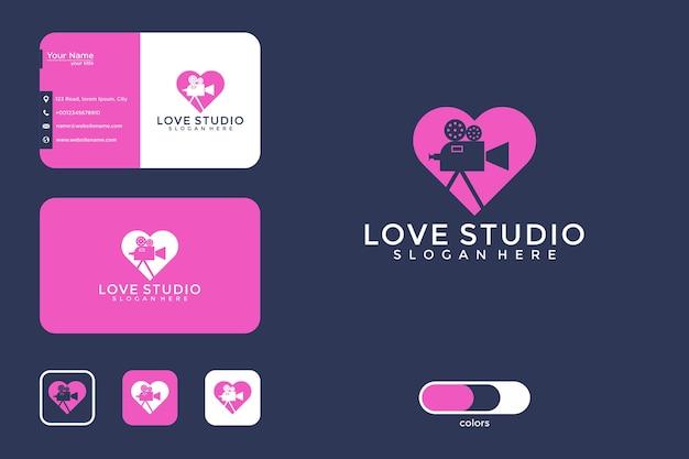 Conception de logo de studio d'amour et carte de visite