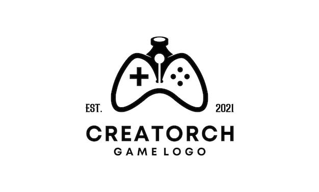 Conception de logo de stylo et symbole de jeu
