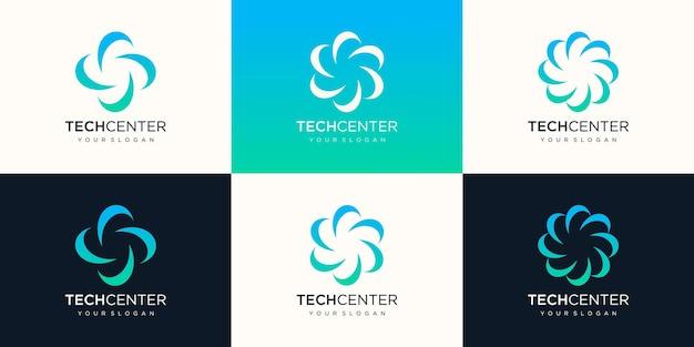 Conception de logo swoosh spinning whirl modèle ou élément abstrait de fleur.
