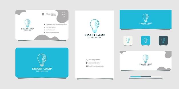 Conception de logo de technologie d'ampoule intelligente et conception de carte de visite