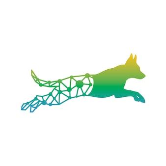 Conception de logo de technologie de chien en cours d'exécution