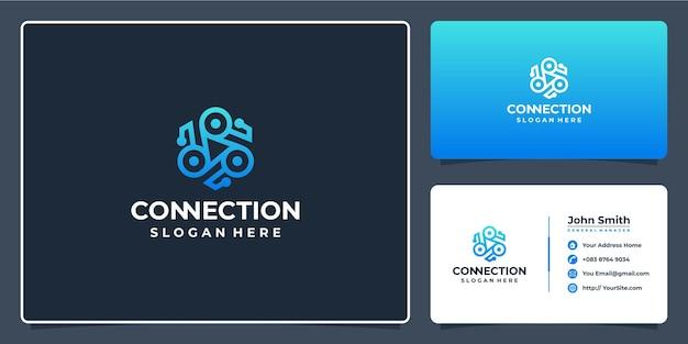 Conception de logo de technologie de connexion et carte de visite