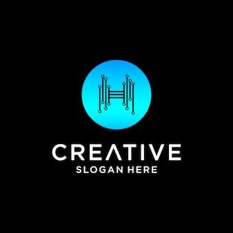 Conception de logo de technologie h