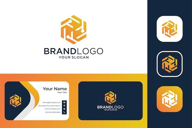 Conception de logo de technologie hexagonale et carte de visite