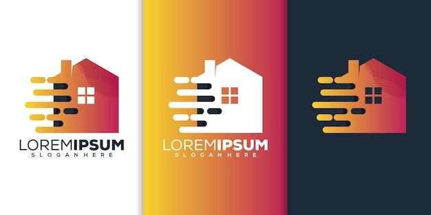 Conception de logo de technologie à la maison