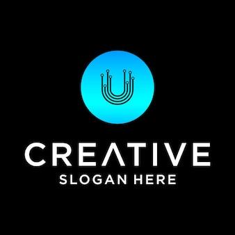 Conception de logo de technologie u