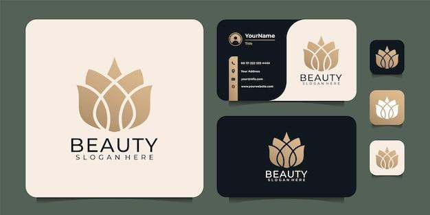 Conception de logo unique d'éléments de salon de lotus de yoga de spa de beauté