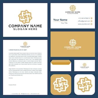 Conception de logo de vecteur d'ornement de mandala de fleur et carte de visite