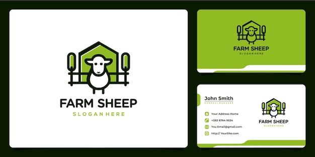 Conception de logo vert mignon de mouton de ferme et carte de visite