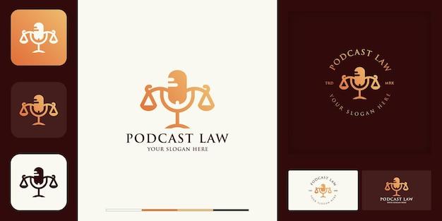 Conception de logo vintage moderne d'avocat de podcast et carte de visite