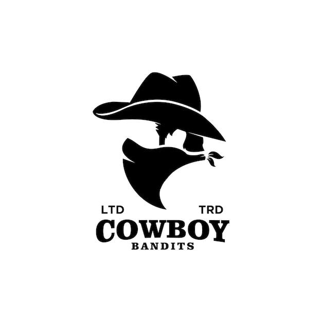 Conception de logo vintage premium de chapeau de cowboy du texas