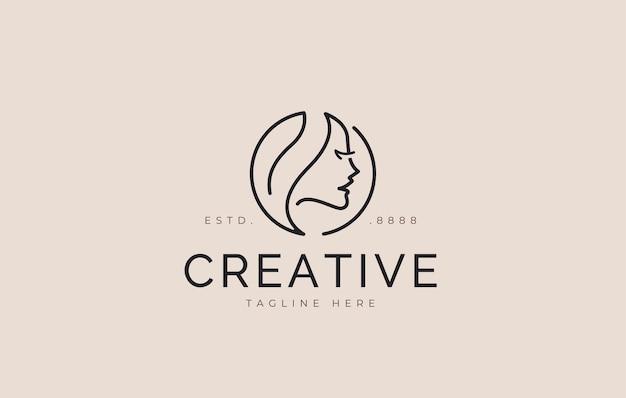 Conception de logo de visage de feuille icône illustration vectorielle de femme de beauté naturelle