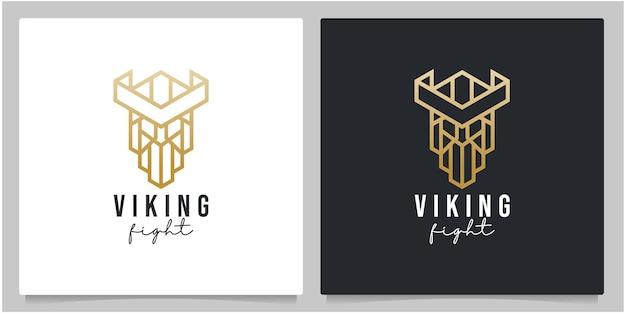 Conception de logo de visage de tête de guerrier viking de contour