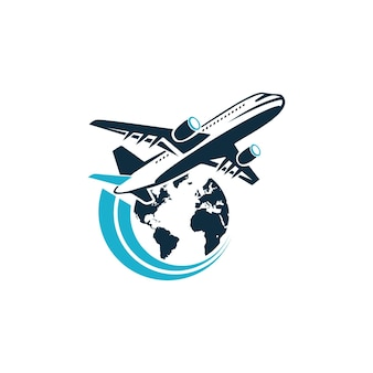 Conception de logo de voyage avion jet