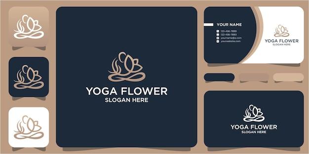 Conception de logo yoga et fleur