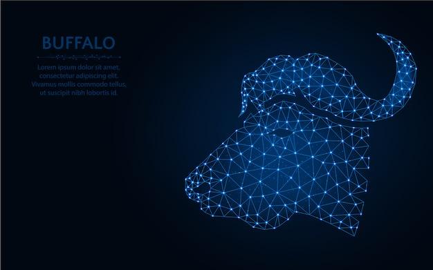 Conception de low poly tête de buffle, illustration vectorielle polygonale de maillage filaire animal