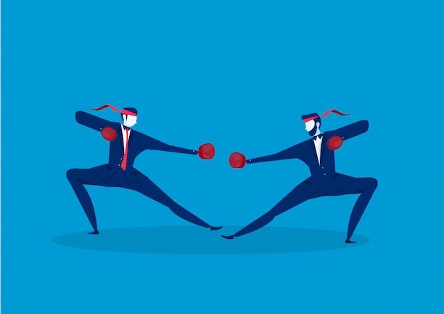 Conception de la lutte contre la boxe homme d'affaires