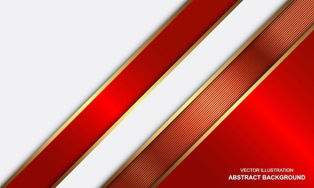 Conception de luxe de lignes rouges et or blanches de fond abstrait moderne